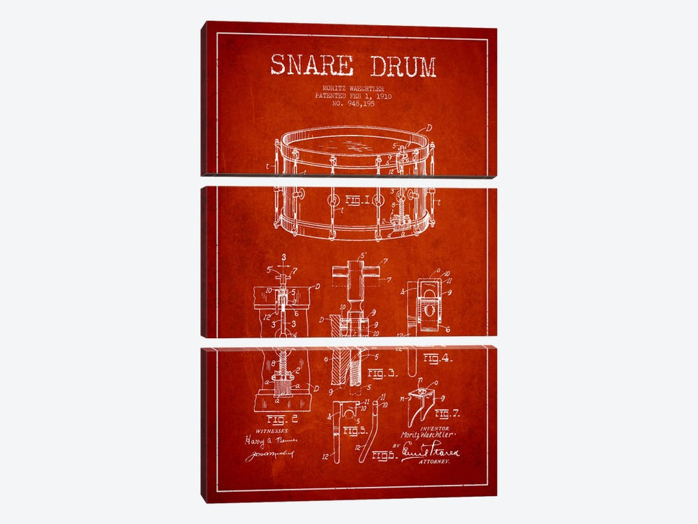 Waechtler Snare Red Patent Blueprint by Aged Pixel 3-piece Canvas Print