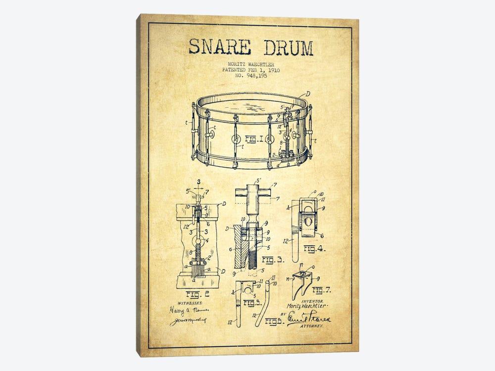 Waechtler Snare Vintage Patent Blueprint by Aged Pixel 1-piece Canvas Wall Art