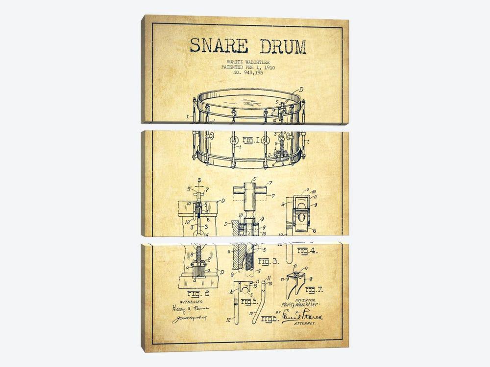 Waechtler Snare Vintage Patent Blueprint by Aged Pixel 3-piece Canvas Art