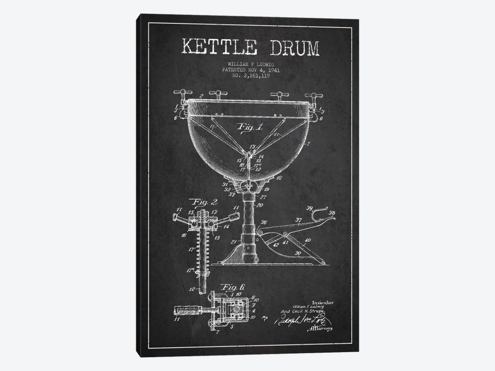 Ludwig Kettle Charcoal Patent Blueprint by Aged Pixel 1-piece Canvas Print