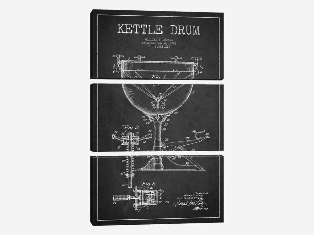 Ludwig Kettle Charcoal Patent Blueprint by Aged Pixel 3-piece Canvas Print