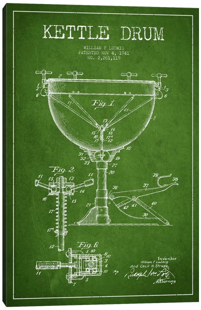 Ludwig Kettle Green Patent Blueprint Canvas Print #ADP1075
