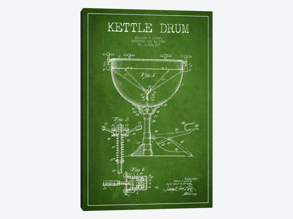 Ludwig Kettle Green Patent Blueprint by Aged Pixel 1-piece Canvas Artwork