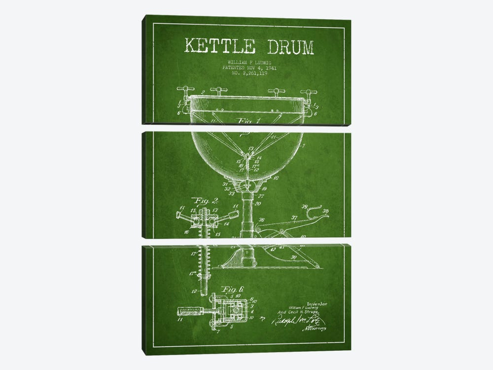 Ludwig Kettle Green Patent Blueprint by Aged Pixel 3-piece Canvas Wall Art