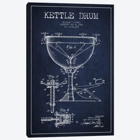 Ludwig Kettle Navy Blue Patent Blueprint Canvas Print #ADP1076} by Aged Pixel Canvas Art