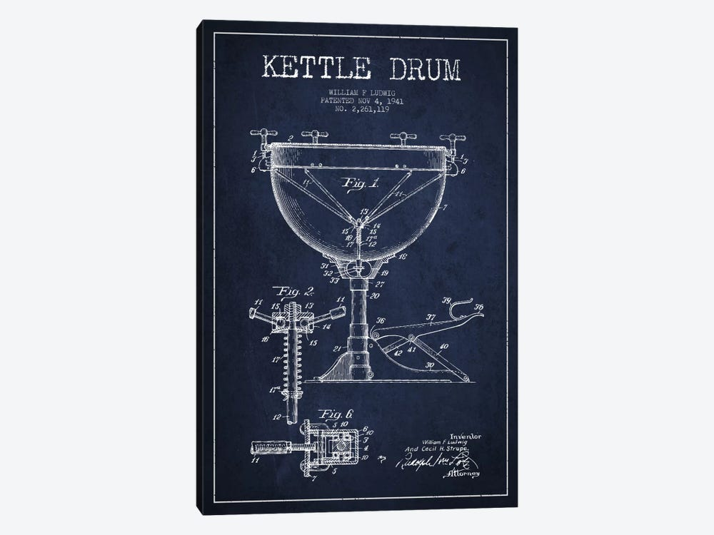 Ludwig Kettle Navy Blue Patent Blueprint by Aged Pixel 1-piece Canvas Print