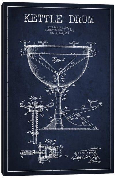 Ludwig Kettle Navy Blue Patent Blueprint Canvas Art Print