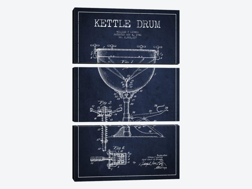 Ludwig Kettle Navy Blue Patent Blueprint by Aged Pixel 3-piece Canvas Print
