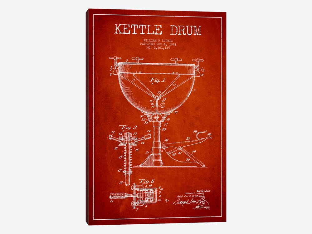 Ludwig Kettle Red Patent Blueprint by Aged Pixel 1-piece Canvas Artwork