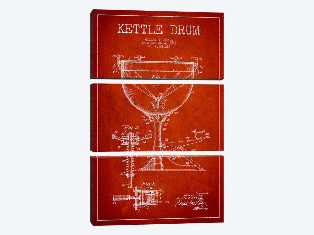Ludwig Kettle Red Patent Blueprint by Aged Pixel 3-piece Canvas Wall Art