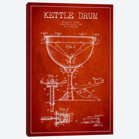 Ludwig Kettle Red Patent Blueprint Canvas Print #ADP1077} by Aged Pixel Canvas Wall Art