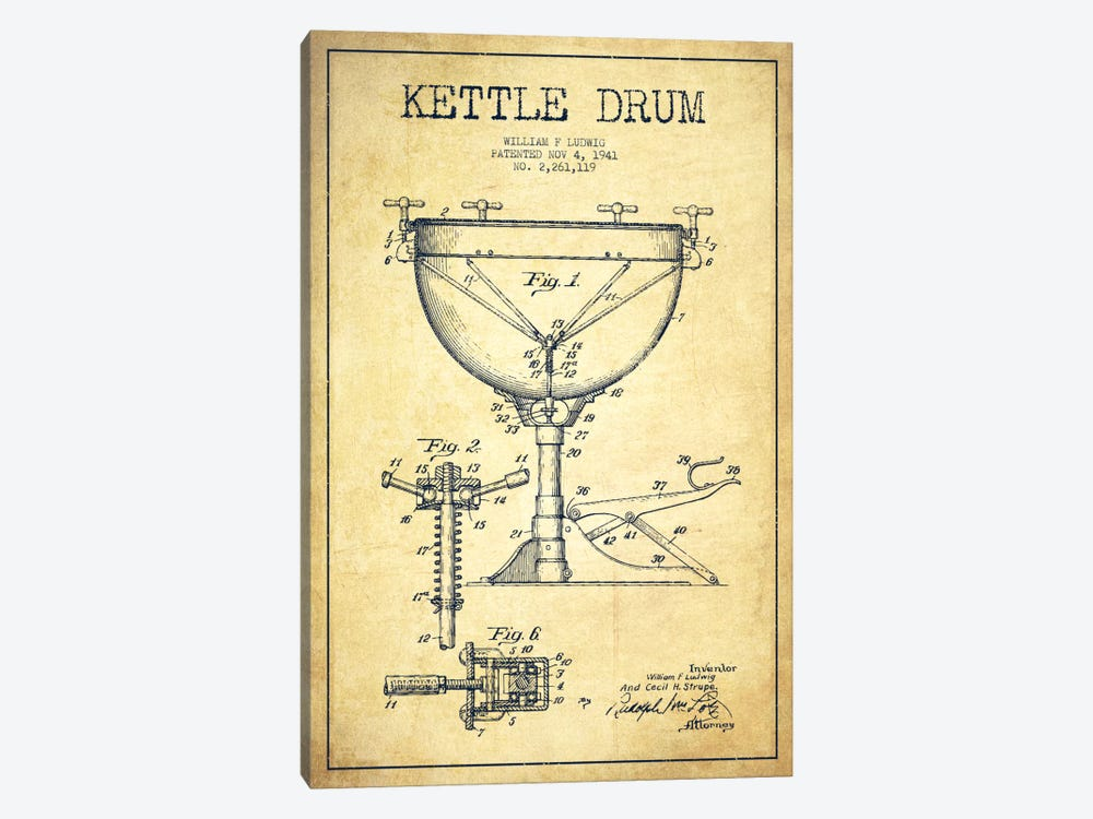 Ludwig Kettle Vintage Patent Blueprint by Aged Pixel 1-piece Canvas Art Print