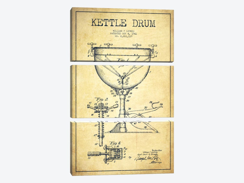 Ludwig Kettle Vintage Patent Blueprint by Aged Pixel 3-piece Canvas Art Print