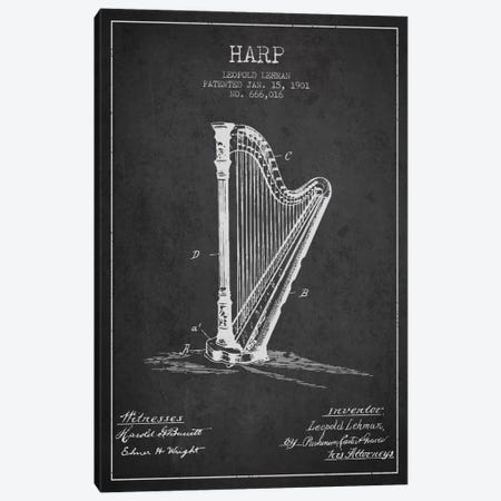 Harp Charcoal Patent Blueprint Canvas Print #ADP1079} by Aged Pixel Canvas Art Print