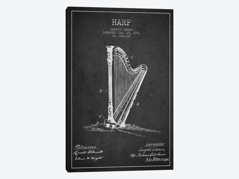 Harp Charcoal Patent Blueprint by Aged Pixel 1-piece Canvas Wall Art