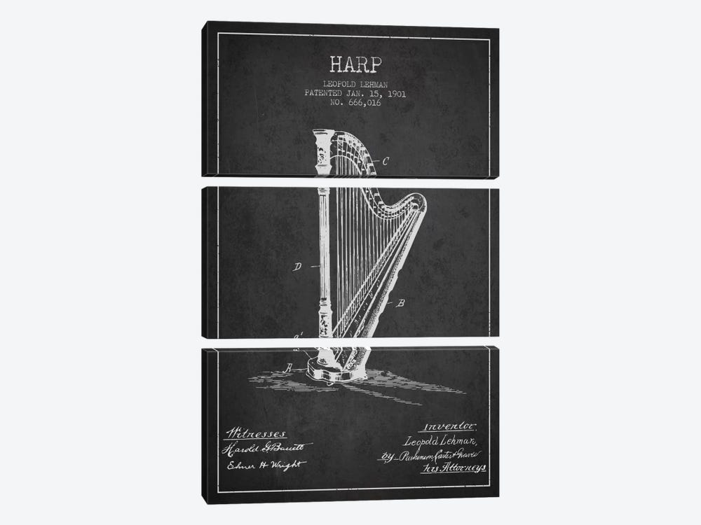 Harp Charcoal Patent Blueprint by Aged Pixel 3-piece Canvas Art