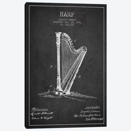 Harp Charcoal Patent Blueprint Canvas Print #ADP1079} by Aged Pixel Canvas Art Print