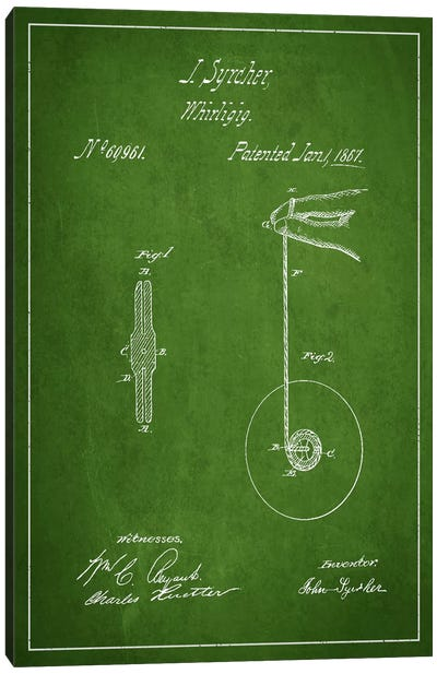 Yoyo Green Patent Blueprint Canvas Art Print