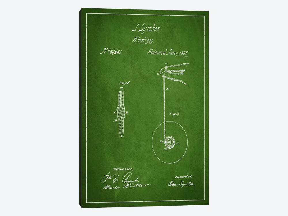 Yoyo Green Patent Blueprint by Aged Pixel 1-piece Canvas Print