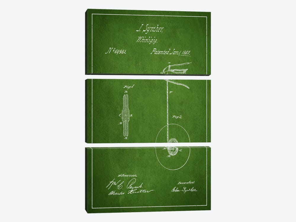Yoyo Green Patent Blueprint by Aged Pixel 3-piece Canvas Print