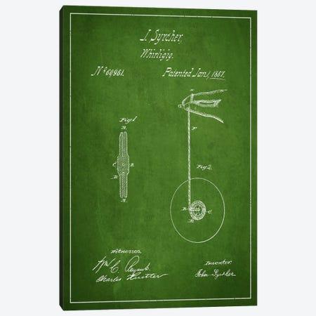 Yoyo Green Patent Blueprint Canvas Print #ADP107} by Aged Pixel Art Print