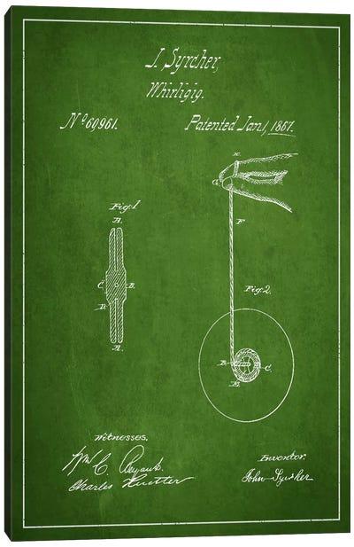 Yoyo Green Patent Blueprint Canvas Art Print
