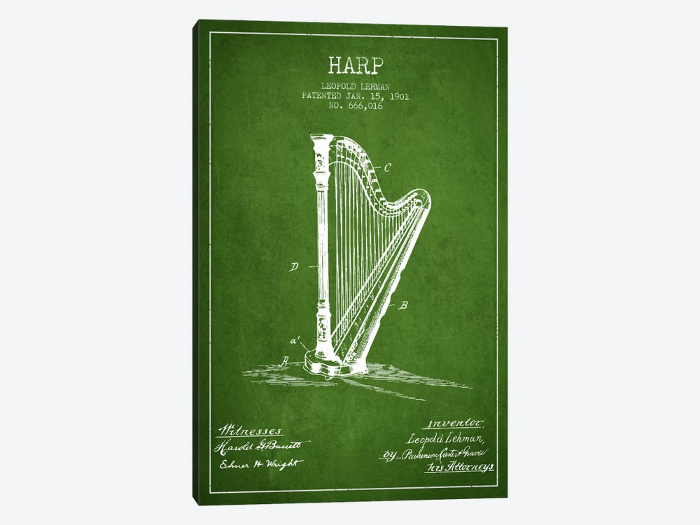 Harp Green Patent Blueprint by Aged Pixel 1-piece Canvas Artwork
