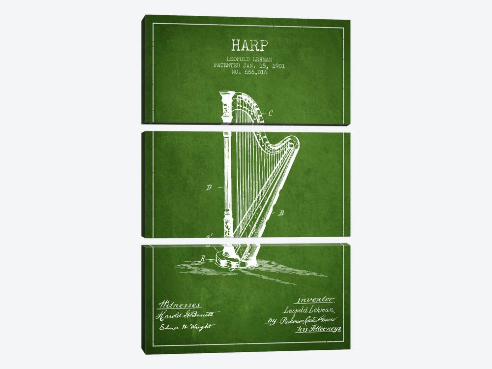 Harp Green Patent Blueprint by Aged Pixel 3-piece Canvas Artwork