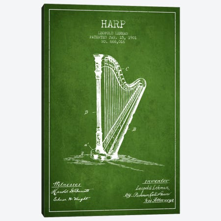 Harp Green Patent Blueprint Canvas Print #ADP1080} by Aged Pixel Canvas Artwork