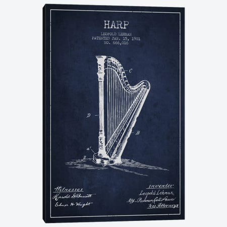 Harp Navy Blue Patent Blueprint Canvas Print #ADP1081} by Aged Pixel Canvas Art