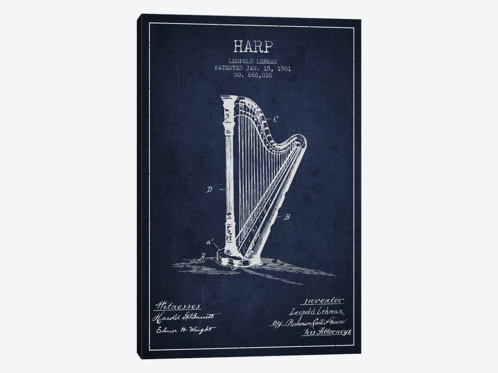 Harp Navy Blue Patent Blueprint by Aged Pixel 1-piece Art Print