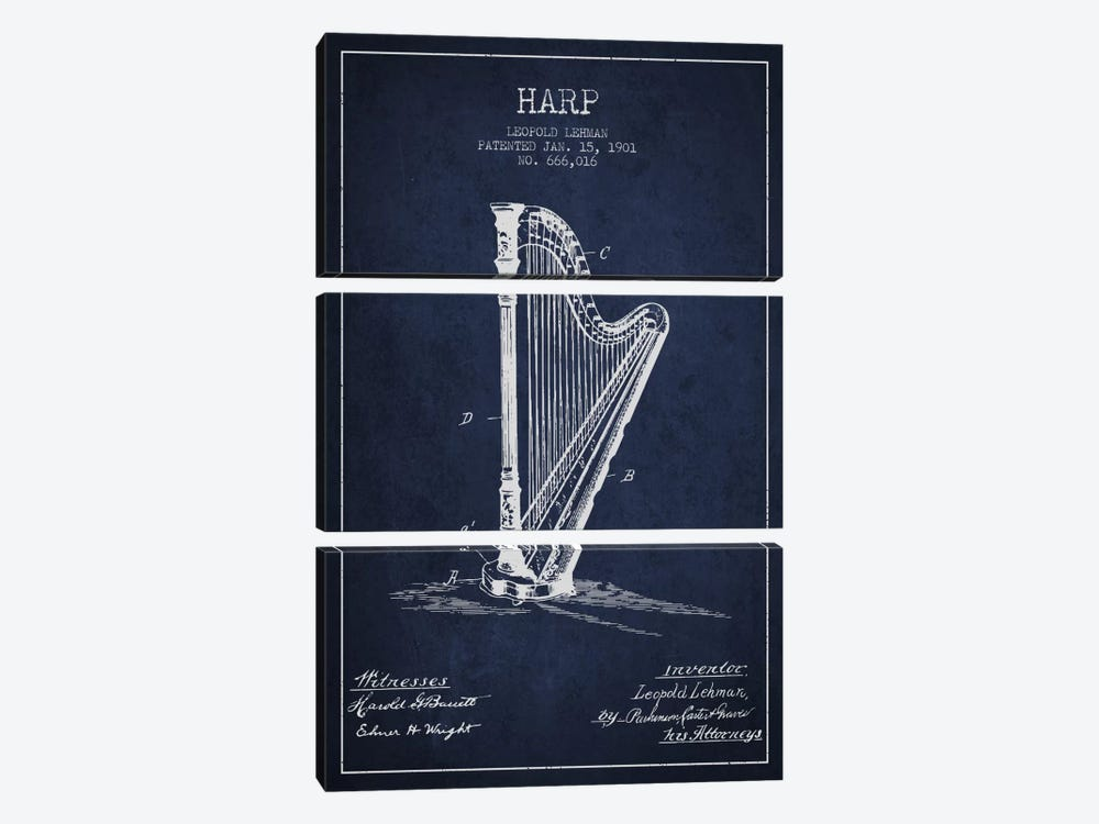 Harp Navy Blue Patent Blueprint by Aged Pixel 3-piece Art Print
