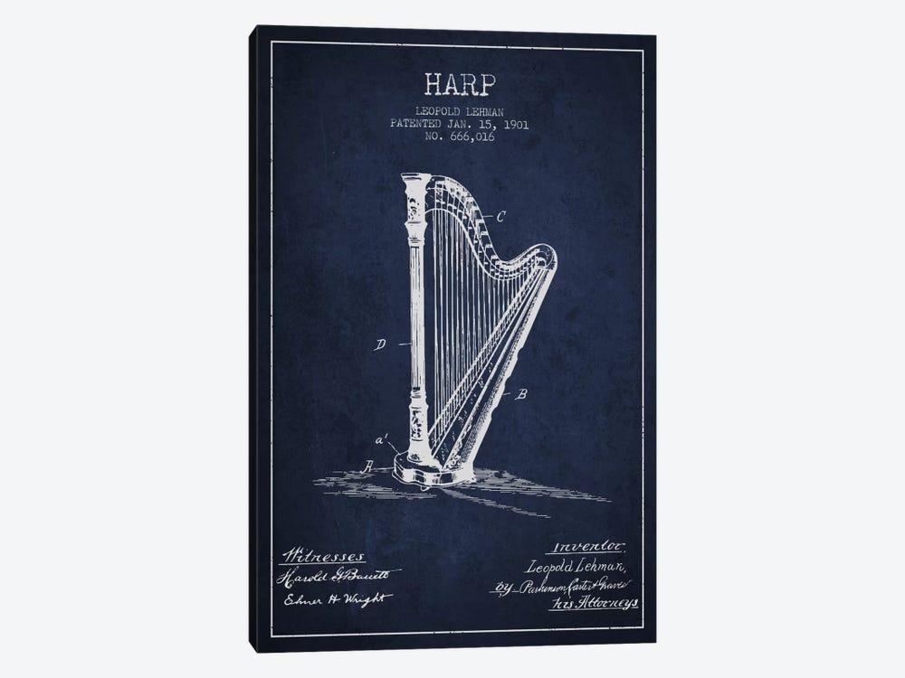 Harp Navy Blue Patent Blueprint by Aged Pixel 1-piece Art Print