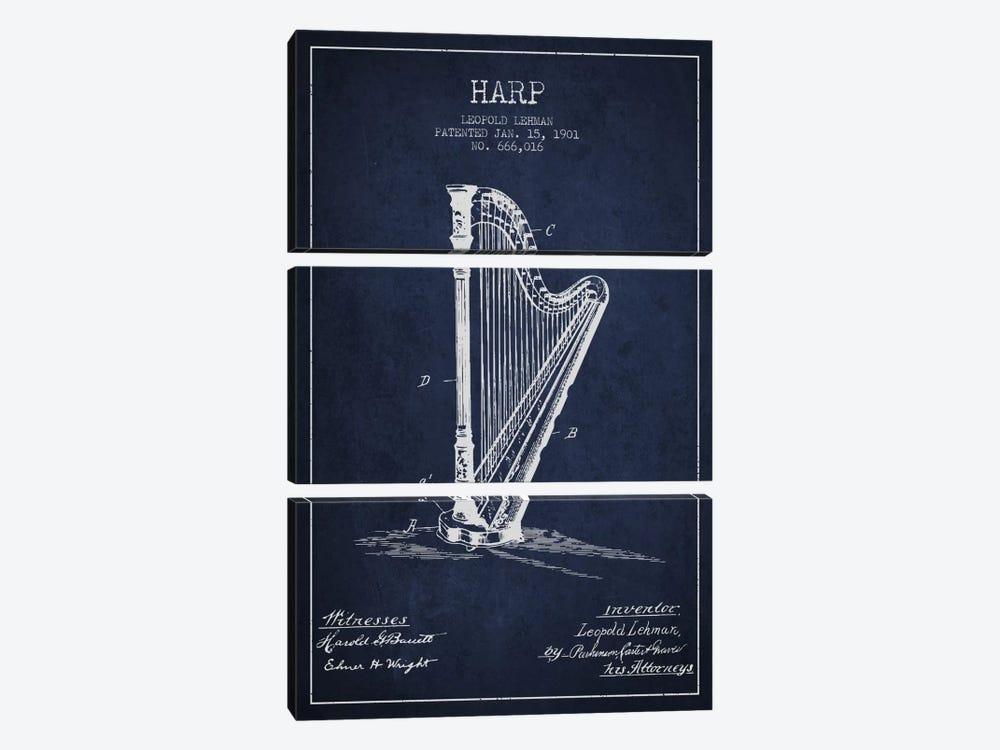 Harp Navy Blue Patent Blueprint by Aged Pixel 3-piece Art Print
