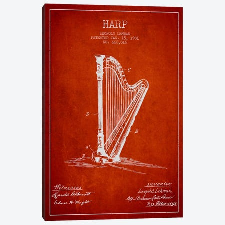 Harp Red Patent Blueprint Canvas Print #ADP1082} by Aged Pixel Canvas Wall Art
