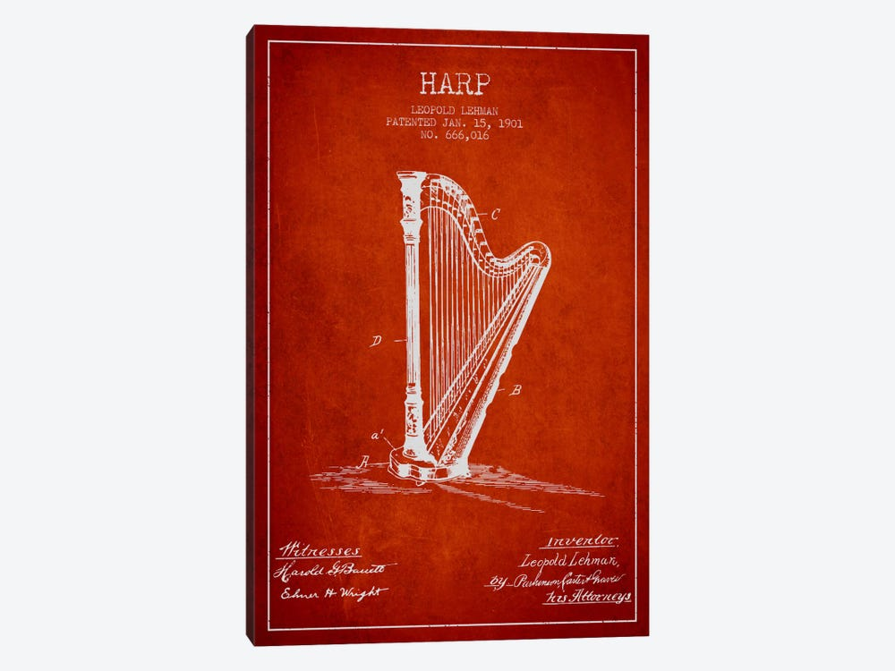 Harp Red Patent Blueprint by Aged Pixel 1-piece Canvas Art