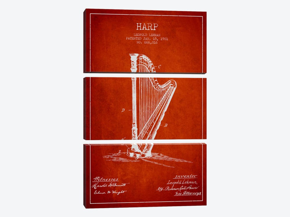 Harp Red Patent Blueprint by Aged Pixel 3-piece Canvas Art