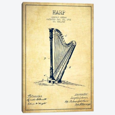 Harp Vintage Patent Blueprint Canvas Print #ADP1083} by Aged Pixel Canvas Artwork