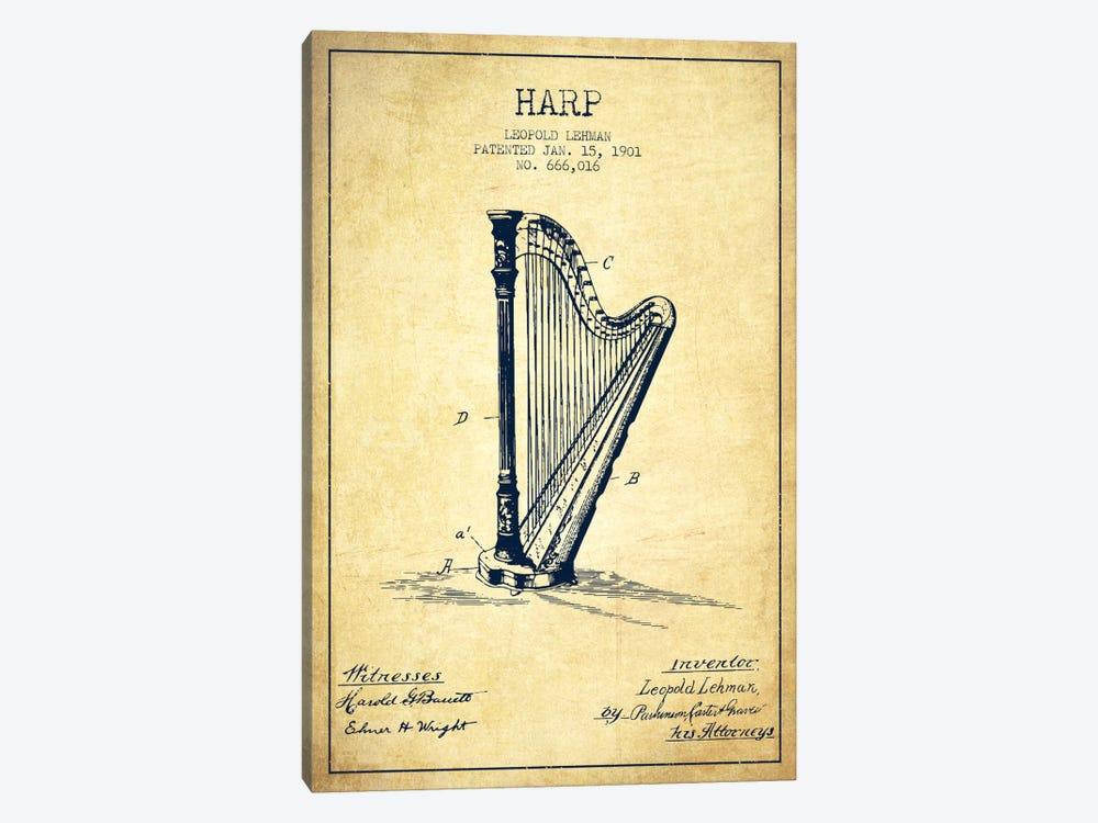 Harp Vintage Patent Blueprint by Aged Pixel 1-piece Canvas Print