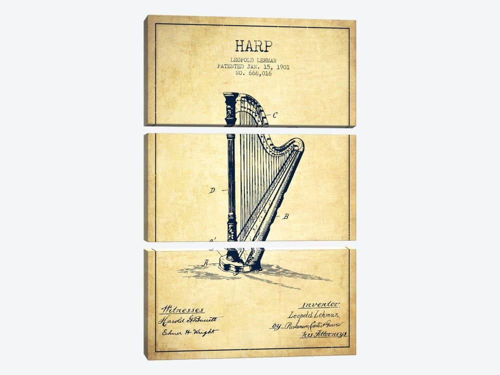 Harp Vintage Patent Blueprint by Aged Pixel 3-piece Canvas Print