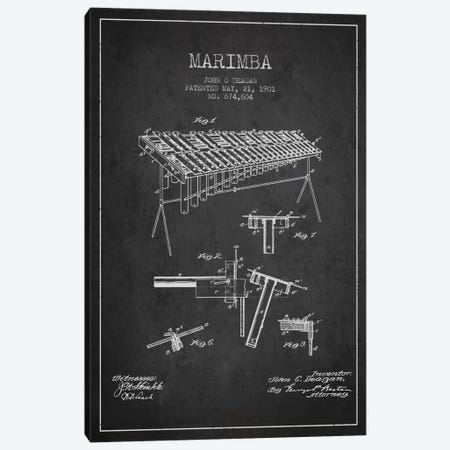 Marimba Charcoal Patent Blueprint Canvas Print #ADP1084} by Aged Pixel Canvas Print