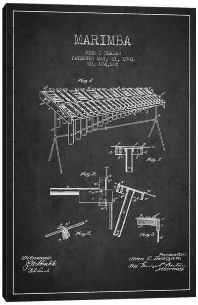 Marimba Charcoal Patent Blueprint Canvas Print #ADP1084