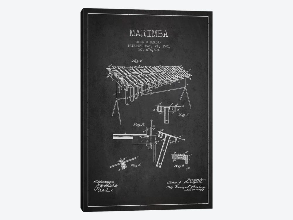 Marimba Charcoal Patent Blueprint by Aged Pixel 1-piece Canvas Wall Art