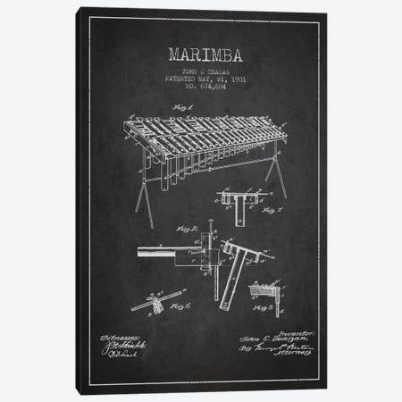 Marimba Charcoal Patent Blueprint Canvas Print #ADP1084} by Aged Pixel Canvas Print