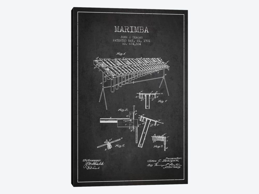 Marimba Charcoal Patent Blueprint by Aged Pixel 1-piece Canvas Wall Art