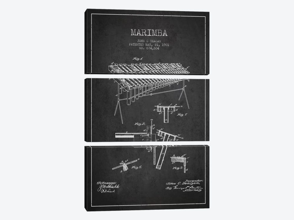 Marimba Charcoal Patent Blueprint by Aged Pixel 3-piece Canvas Artwork