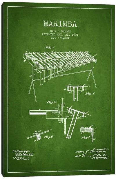 Marimba Green Patent Blueprint Canvas Print #ADP1085