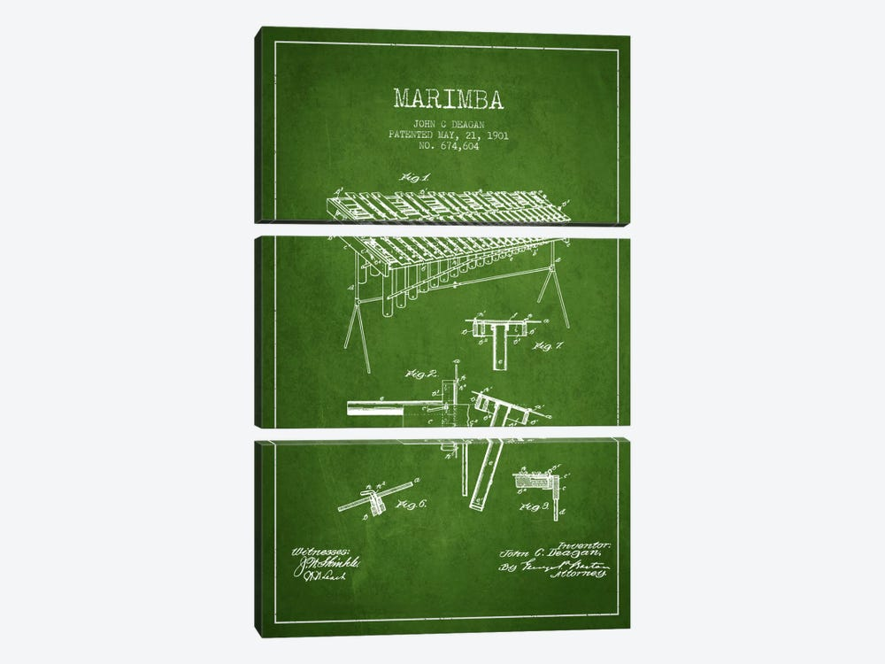 Marimba Green Patent Blueprint by Aged Pixel 3-piece Canvas Print