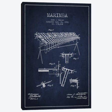 Marimba Navy Blue Patent Blueprint Canvas Print #ADP1086} by Aged Pixel Canvas Print