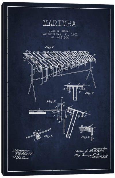Marimba Navy Blue Patent Blueprint Canvas Print #ADP1086